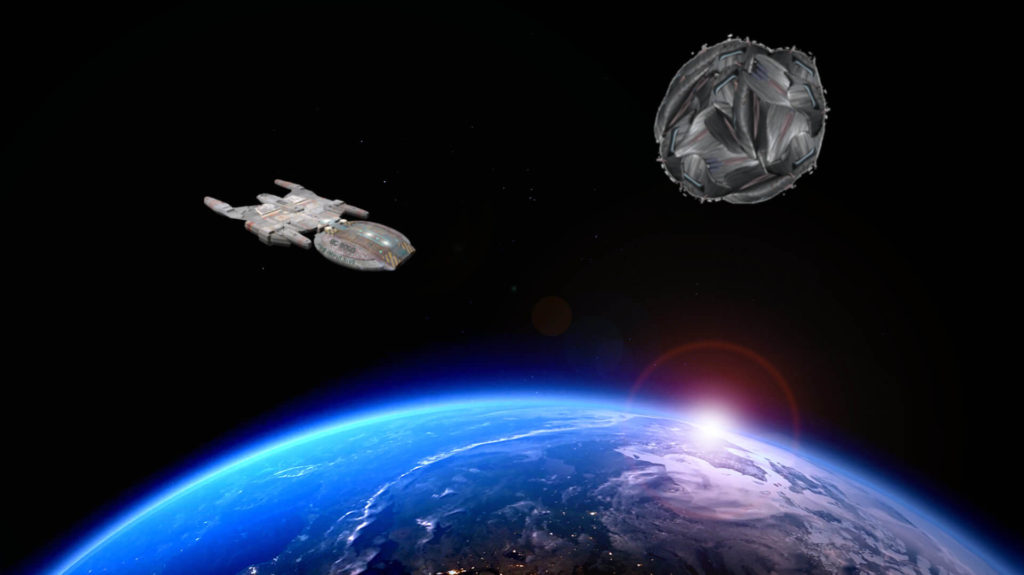 A Cybership appears over the Planet Filedise wiht the Impulisve in orbit, too