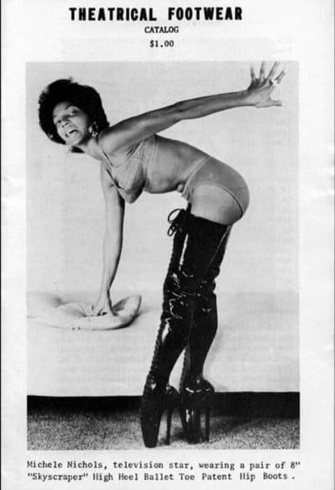 Nichelle Nichols in hip boots