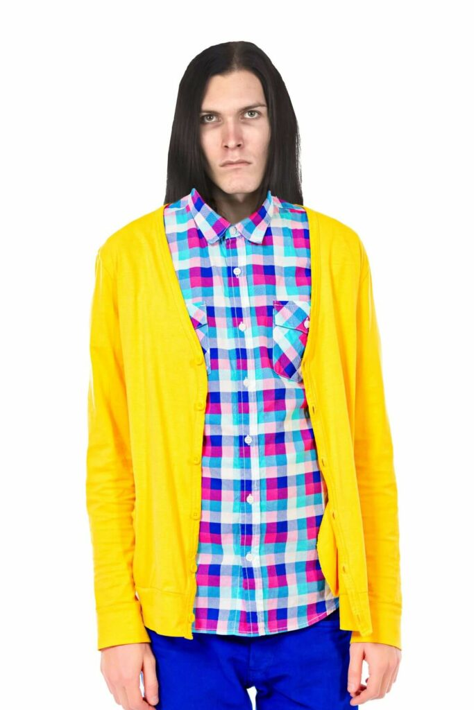dolfrick dour in a bright shirt his sister made him wear