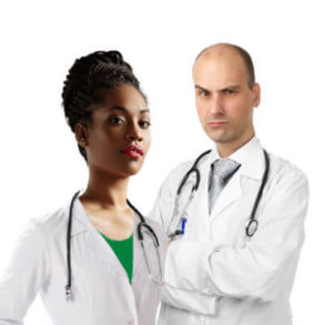 two doctors, one male, one female